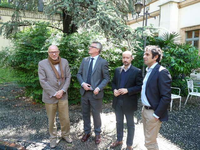 Nell'ordine Gianni Dal Bello, Fabrizio Barbieri, Francesco Gonzales e Matteo Besozzi alla conferenza stampa in Provincia